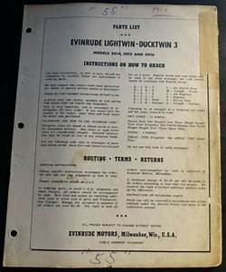 1965 3hp Evinrude Parts Catalog Lightwin Ducktwin 3502a