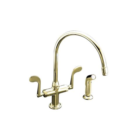 kohler essex kitchen faucet kohler essex kitchen faucet shop kohler essex vibrant polished brass 2 handle high arc