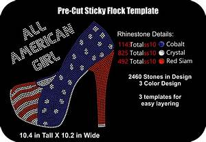 Pre cut rhinestone rhinestone flock template all american for Pre cut sticky flock templates