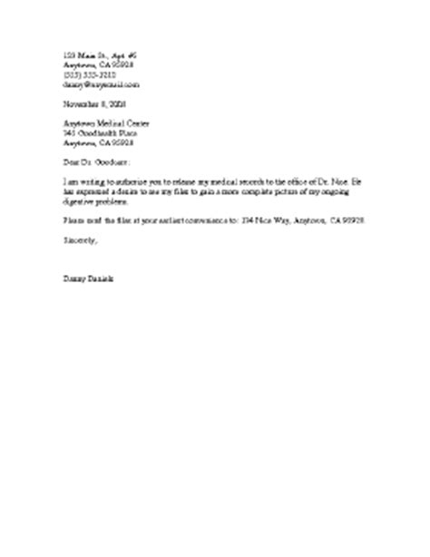 medical records release letter template