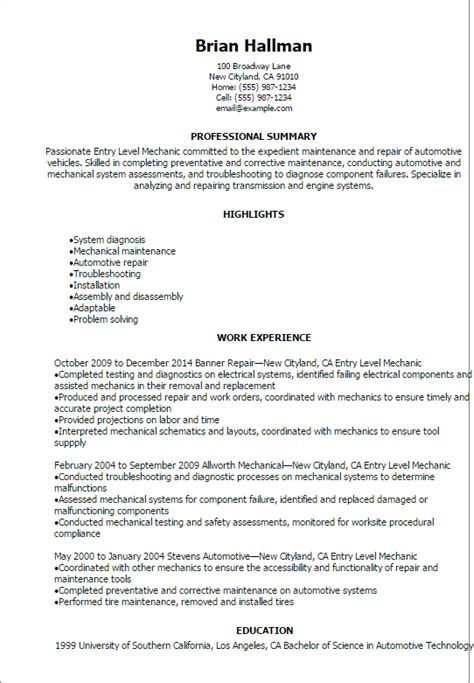 professional entry level mechanic resume templates to