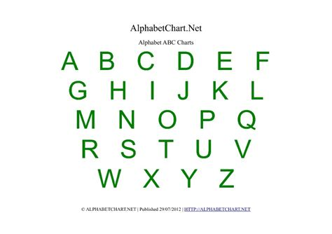 alphabet chart printables  children