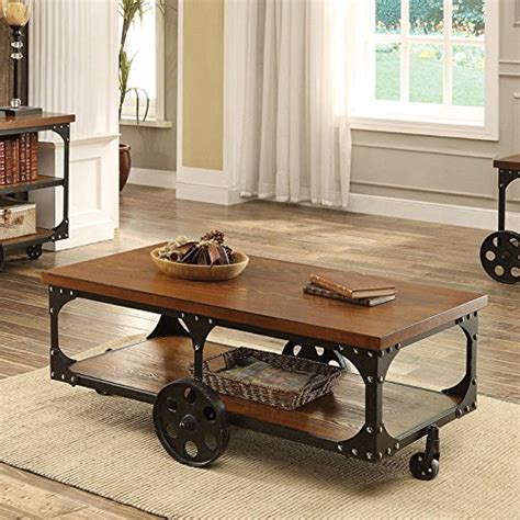 Coaster Furniture Coffee Table With Casters Farmhouse