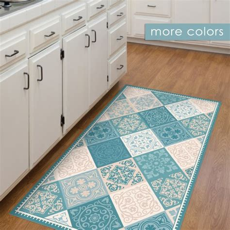 decorative kitchen floor mat vinyl floor mat kitchen mat with tile design in turquoise 6499