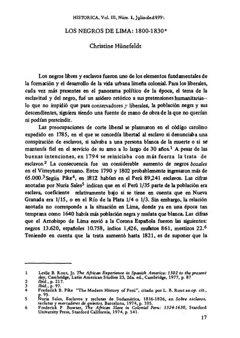 LOS NEGROS DE LIMA: 1800 1830* Christine Hünefeldt