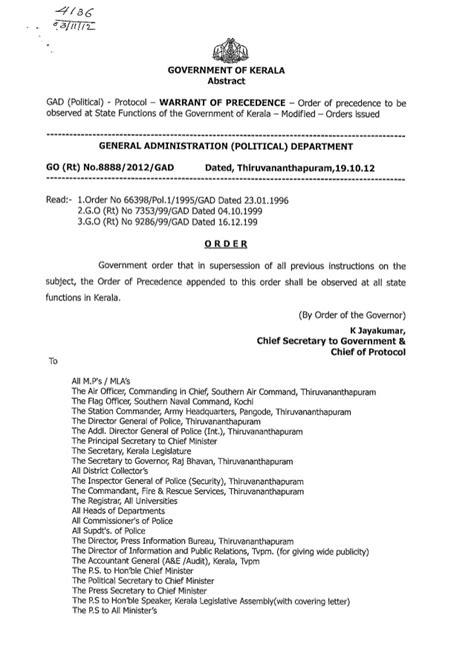 Order of precedence kerala-Protocol