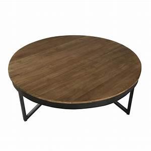 Table Basse Ronde Bois Metal : table basse ronde 90 x 90 cm bois et m tal dpi import ~ Teatrodelosmanantiales.com Idées de Décoration