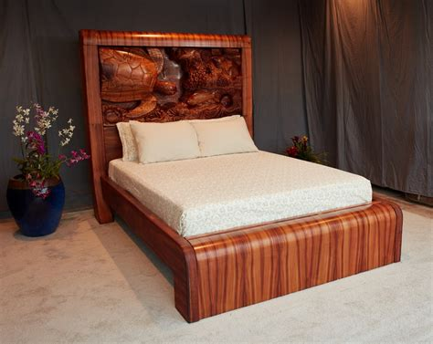 Mdesign Hawaii Custom Woodworks » Koa Wood Bed With Carved. Shower Set. Ceiling Mount Light Fixtures. Ariel Steam Shower. Outdoor Tub