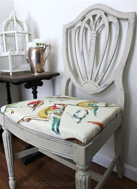 Kitchen Dresser Ideas - country grey chalk paint chair makeover with bird fabric girl in the garage