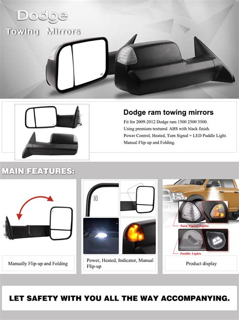 Amazon.com: Dodge Towing Mirrors for 09-12 Dodge Ram 1500