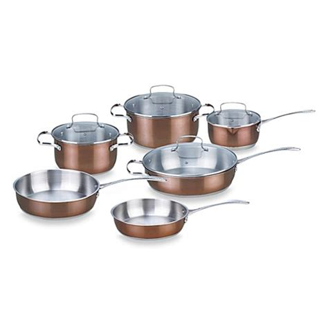 buy kevin dundon  piece stainless steel cookware set  copper color accented exterior