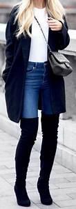 Best 25+ Knee high boots ideas on Pinterest   Black thigh high boots Thigh high boots outfit ...