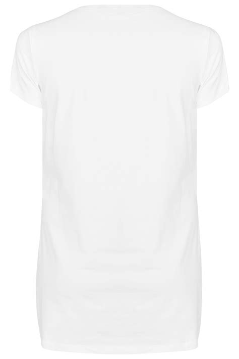 White Scoop Neck Longline Jersey T-Shirt, plus size 16 to 36