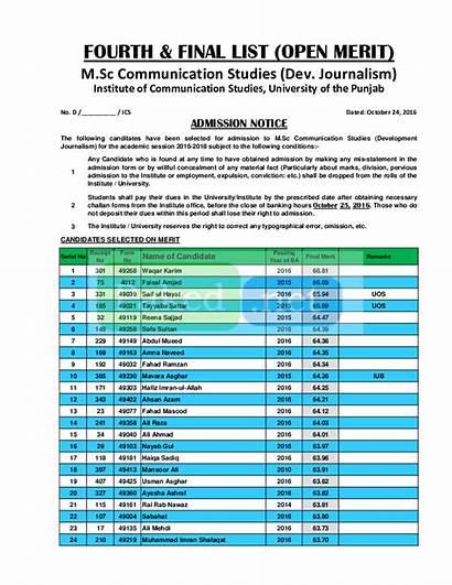 Punjab University Merit Communication Journalism Lahore Studies