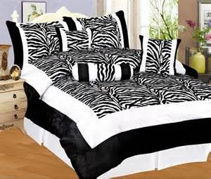 7 pc flocking zebra bedding comforter set black white