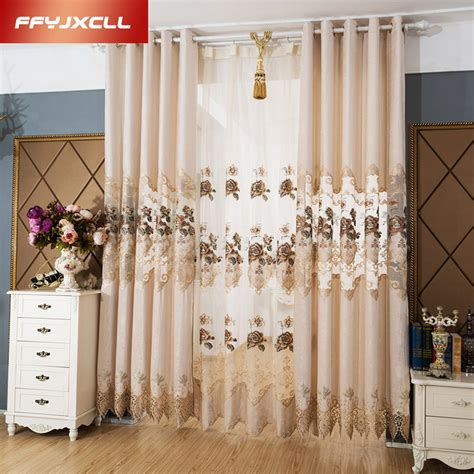 chenille embroidered european royal luxury curtains