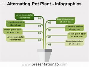 Alternating Pot Plant Powerpoint Diagram