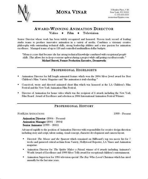 Animation Resume by Animation Director Page1 Entertainment Resumes Resume