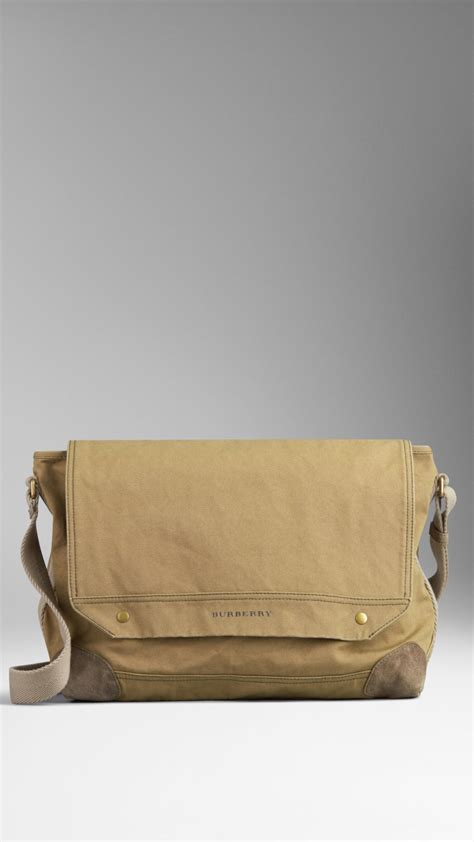 burberry cotton canvas military messenger bag  khaki