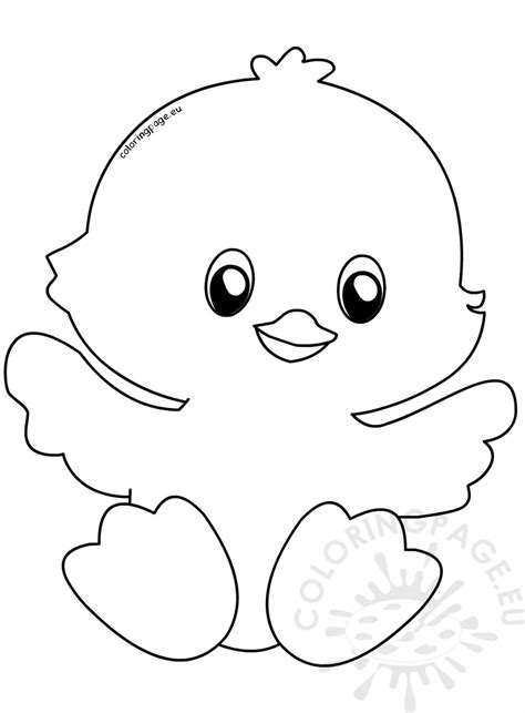 cute happy easter chick coloring page