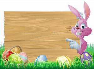 Pink Easter Eggs Sign Easter Bunny Stock Photography ...