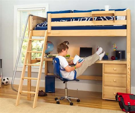 childrens bunk beds with desk knockout high loft bed with desk and 1 drawer in natural