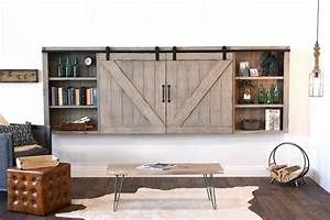farmhouse furniture and decor woodwaves With barn door tv wall cabinet
