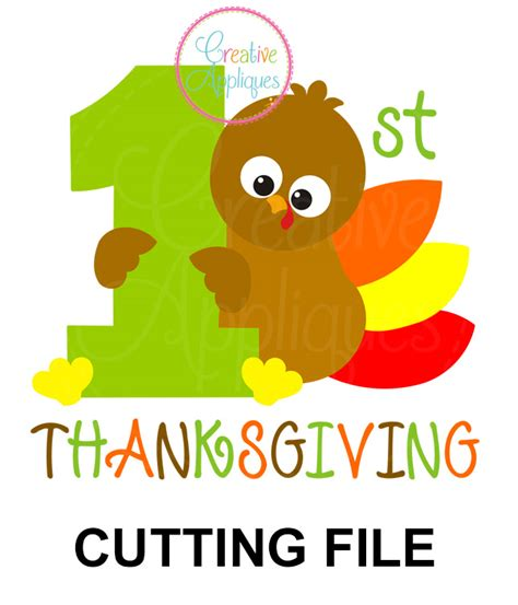 This bundle includes a happy thanksgiving bendy card, a turkey place card and a give thanks pennant/bunting. 1st Thanksgiving Turkey Cutting File SVG DXF EPS ...