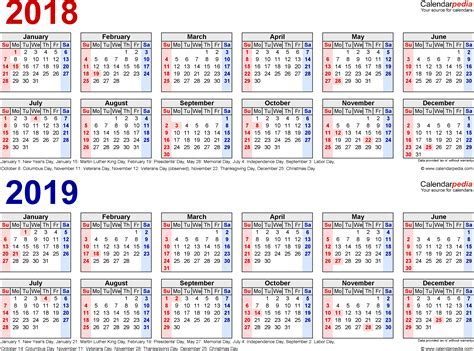 2018 2019 school year calendar template 2018 2019 calendar free printable two year word calendars
