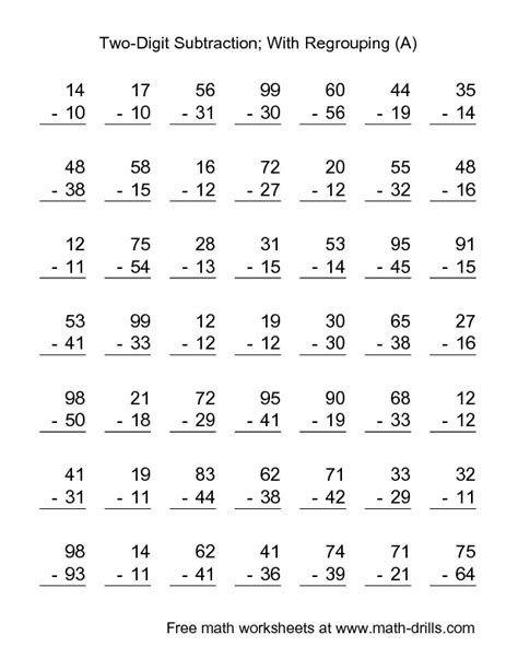 Subtraction Worksheet  Twodigit Subtraction With Some Regrouping  49 Questions (a) School