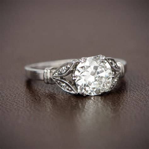 antique style engagement ring ct   cut diamond
