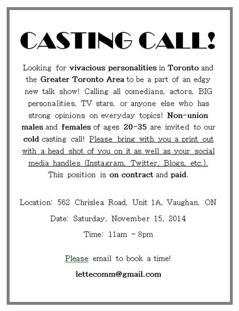 c cast to template open auditions in toronto on for tv pilot auditions free