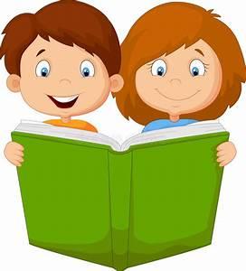 Cartoon kids reading book stock vector. Illustration of ...