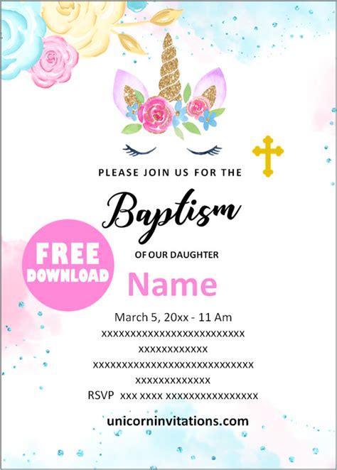 printable unicorn baptism invitations template