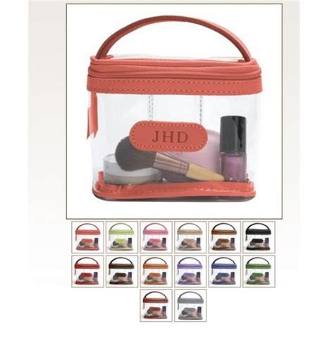 jon hart monogrammed clear mini makeup case