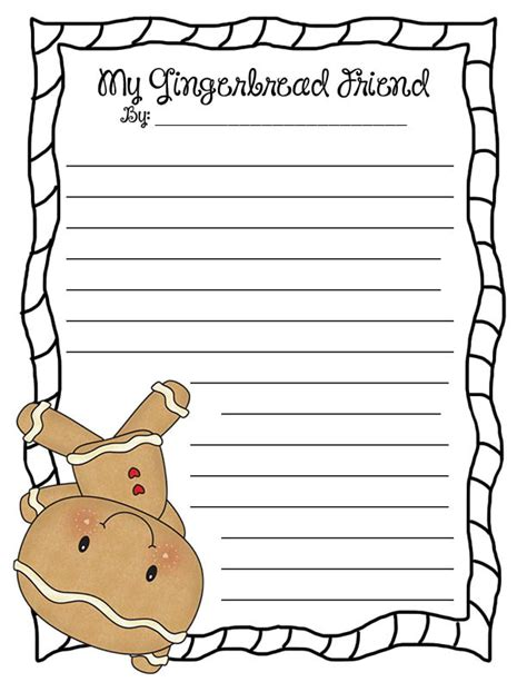 Gingerbread Man Writing Paper Sikkim Manipal Assignment Printable