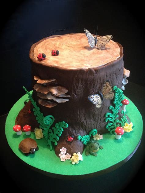 tree cake peace love cake woodland tree stump cake