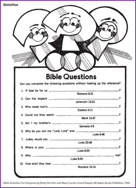 bible school games for preschoolers answer the bible questions korner biblewise 323