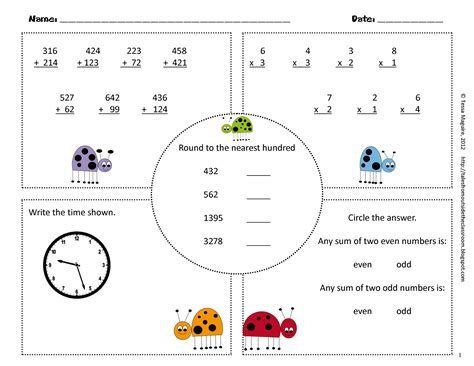 3rd grade common math warm ups classroom freebies