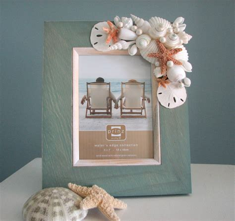 seashell frame  beach decor nautical frame  starfish