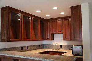 Bloombety recessed lights in kitchen cabinets with glass
