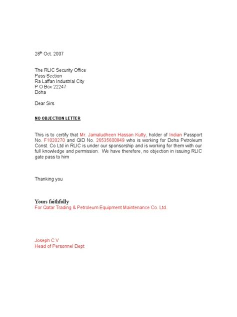 objection letter sample  contoh