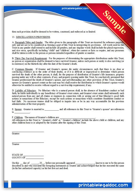 printable living trust forms free printable living trust form generic
