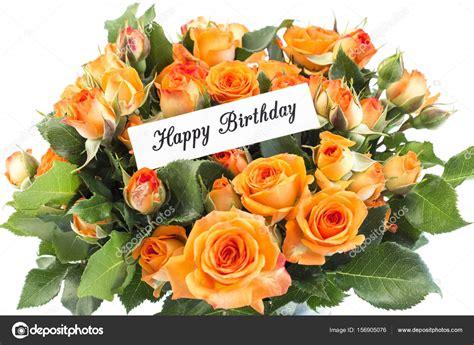 Consegna di fiori freschi in giornata. Happy Birthday Card with Bouquet of Orange Roses — Stock ...