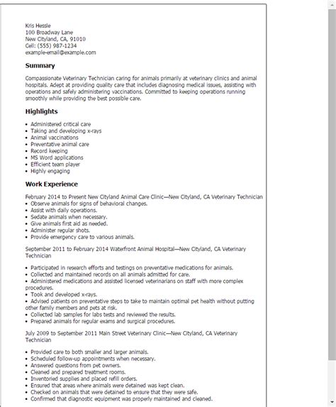 vet tech resume exle professional veterinary technician templates to showcase