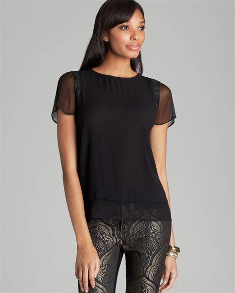 lyst ella moss blouse stella sheer sleeve  black