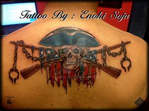 Skull American Flag Crossed Rifle Tattoo By Enoki by ...