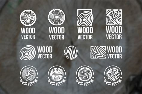 set  wood rings texture logo graphic objects