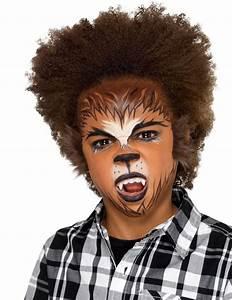 Maquillage Halloween Garcon : kit maquillage loup garou avec fausse fourrure enfant ~ Melissatoandfro.com Idées de Décoration