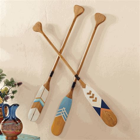 wood decorative canoe paddles set